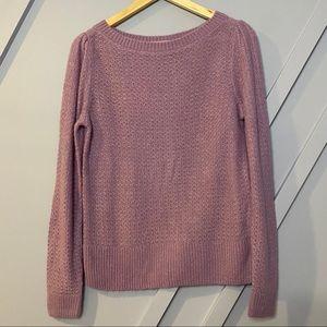 Halogen purple boat neck stitch sweater lavender